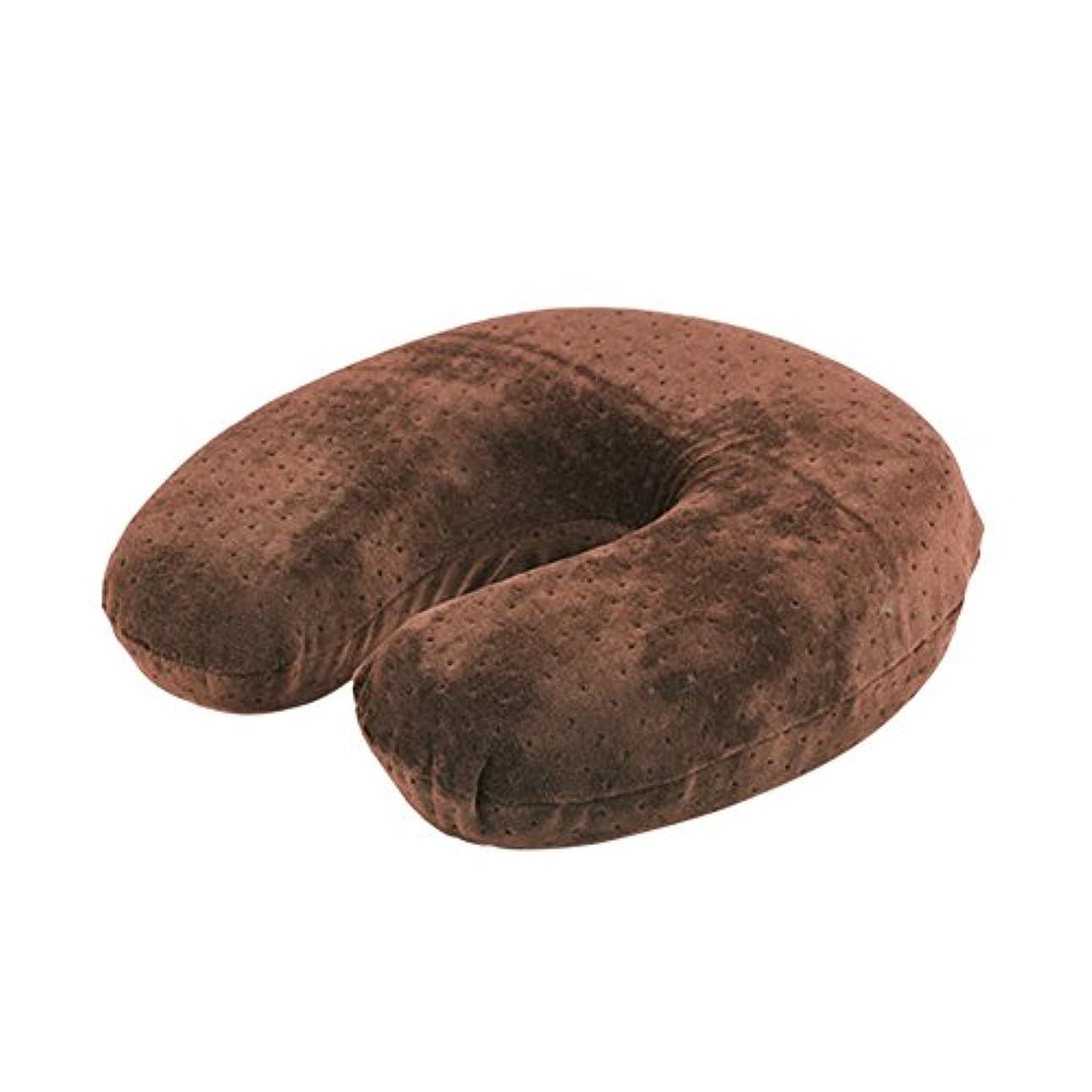 疾患スコットランド人速度U字型枕、ビロードの反発の記憶泡の首の頭部の頚部枕残り旅行クッション(Brown)