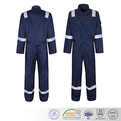 ZUJA Safety Coverall Reflective Stripes Safety High-Visibility Reflective Black Knitted Bright Construction Workwear for Men and Women. (Extra Large)