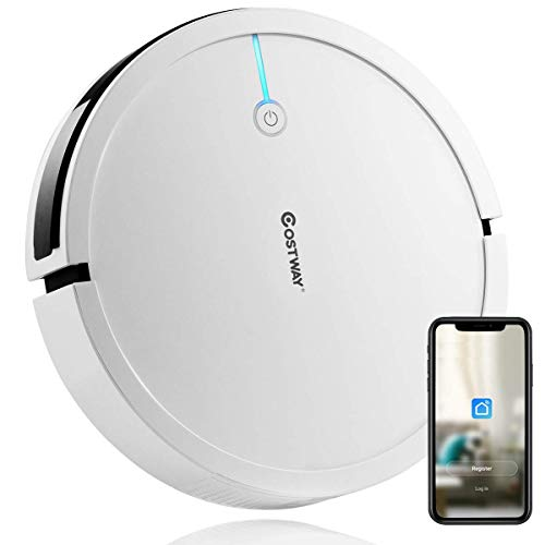 Costway Robot Vacuum, Smart 2000Pa Strong Suction Cleaner, App Controls & WiFi-Connected, HEPA Filter, Super Quiet Self-Charging Robotic Vacuum Cleaner for Pet Hair, Hard Floor & Thin Carpet