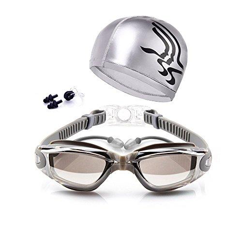 Unisex Long Hair Waterproof Swimming Caps(Grey) - 3