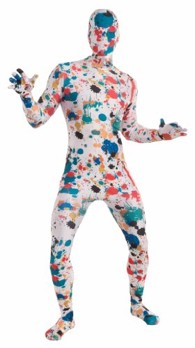 Forum Novelties Disappearing Man Patterned Stretch Body Suit Costume Art Spattered, Rainbow, (Disappearing Man)