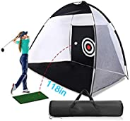 Oxford Cloth Portable Golf Hitting Net Free Standing Golfing Practice Mats with Chipping Practical Target Golf