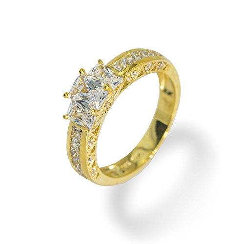 IcedJewels 2.88 cttw Emerald Cut CZ 10K Yellow Gold 3 Stone Engagement Ring, 5.5 ()