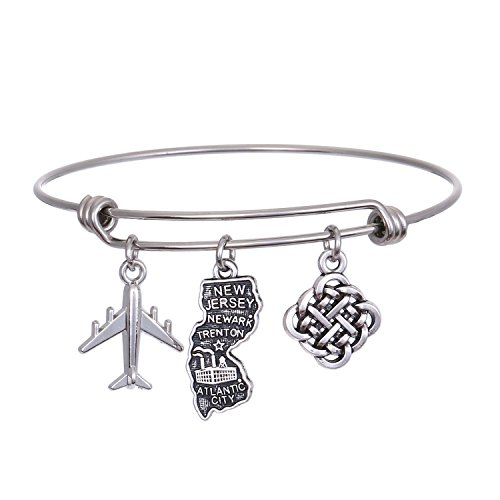 JJTZX State Bangle U.S. Map Charm Expandable Travel Bracelet Long Distance Relationship Gift Best Friends Bracelet (New Jersey)