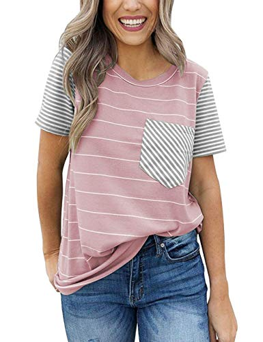 Obosoyo Women's Summer Striped Raglan Short Sleeve Contrast Color Casual T-Shirt Tops with Pocket Pink M Color Block Raglan Tee