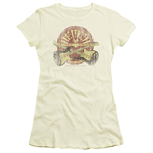 SUN Records - Crossed Guitars - Crop Sleeve Fitted Junior Sheer T-Shirt - 2XL