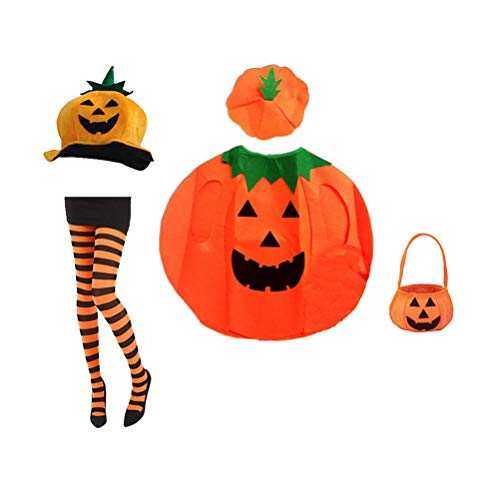 Amosfun Pumpkin Halloween Costume Set Pumpkin Hat Pumpkin Cosplay Clothes Outfit Dress Up Pantyhose Clothes with Bag for Halloween Cosplay Costumes