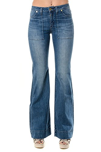 Michael Michael Kors Woman Classic Pant - Michael Kors Flared Leg Jeans Stretch Denim Pants, Vintage Blue Wash (2)