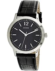 Guess Watches Mens Guess Mens Leather Black Watch