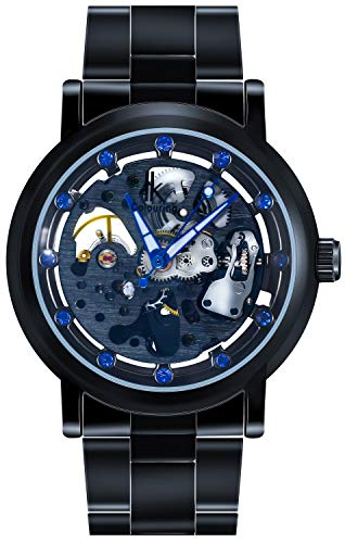 Skeleton Thru See - Erbida Mens Steampunk Automatic Black Ion-Plated Stainless Steel Skeleton Dial Watch with Link Bracelet