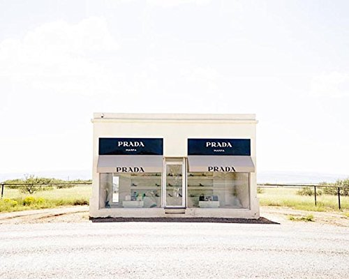 Prada Marfa Photograph minimalist home decor Texas photography 11x14 inch - Prada Design