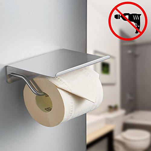 BESy Adhesive Toilet Paper Holder with Shelf, Bathroom Tissu
