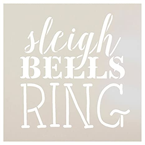 Sleigh Bells Ring Stencil by StudioR12 | Rustic Vintage Christmas Word Art - Reusable Mylar Template | Painting, Chalk, Mixed Media | Use for Journaling Home Decor - STCL1408 SELECT SIZE (15 x 15) Studio R 12