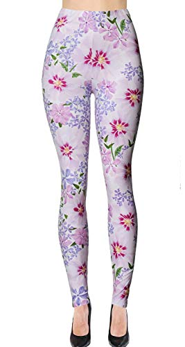 VIV Collection Printed Brushed Leggings (Spring Bloom)