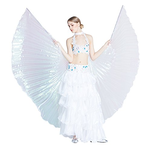Dance Fairy Colorful Belly Dance Isis Wings,White (Sexy Belly Dance Costumes)