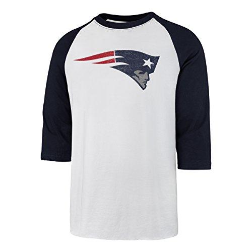 (NFL New England Patriots Men's OTS Rival Raglan Distressed Tee, White Wash, Medium)
