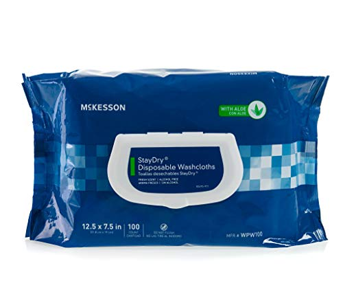 Mckesson Staydry Disposable Washcloths With Aloe Pre Moistened 7 5 X 12 5 Inch Soft Pack Pack Of 100