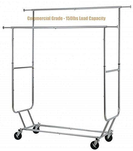 Costumes For Rent Philippines (New Commercial Grade Collapsible Clothing Rolling Double Garment Hanger Heavy Duty Steel Rack/ Chrome #1184c)
