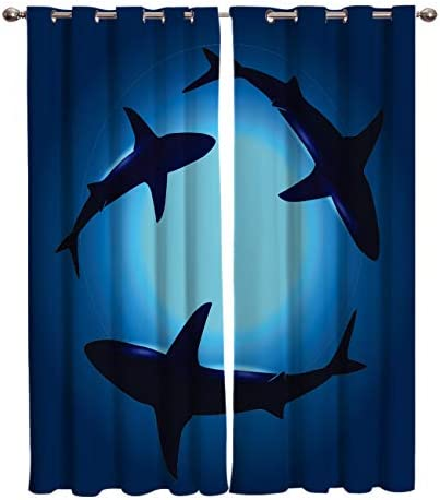 Window Curtains Underwater Shark Digital Printed Thermal Insulated Window Drapes for Bedroom Living Room Dining Room Kids Youth Room 2 Panel Set 52 x90