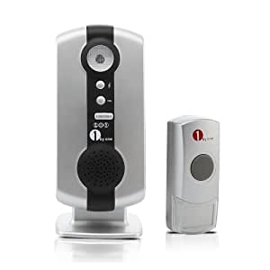 1byone Easy Chime Portable Wireless Doorbell Door Chime and Push Button with LED Indicator, 36 Built-in Beautiful Songs, Very Loud and Adjustable Volume, 200ft Working Distance, Comes with Stand for Easier Placement
