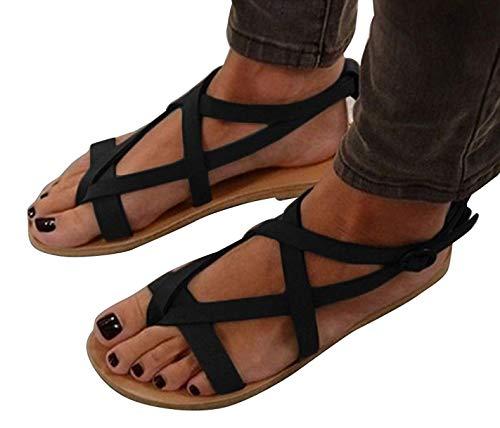 Plate Noir Peep Sandales Sandales Femmes Printemps à Femmes Plates Sandales Bohême Minetom Sandales Toe Romaines Été Talon Clip 7ExTzwaq