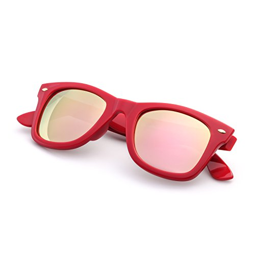 Retro Classic Sunglasses For Men Women Rivet Trim UV400 Protection For Small Face By Blue - Label Red Sunglasses