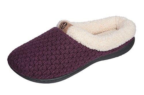 Joan Vass Womens Fleece Lined Sweater Knitted Warm Winter Slipper Elegant Style Purple