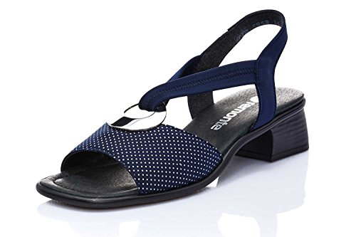 Remonte Damen Sandalette, Bout Ouvert Femme - Bleu - Bleu, 44 EU