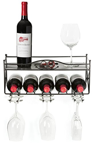 Mango Steam Wall-mounted Wine Rack with Shelf and Stemware Glass Holder by Mango Steam