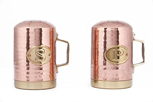 Old Dutch International 4¼ Inch Solid Copper Hammered Stovetop Salt & Pepper Set (Stove Top Salt And Pepper Shakers)