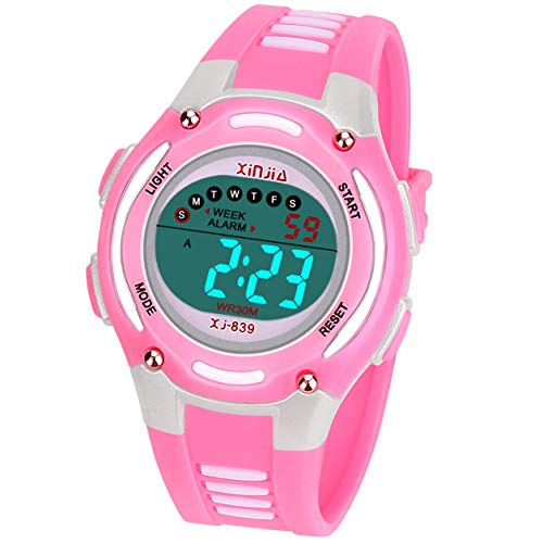 Kids Digital Watch for Girls Boys,Child Waterproof Sport Outdoor Multi-Functional WristWatches for Kid(Pink)