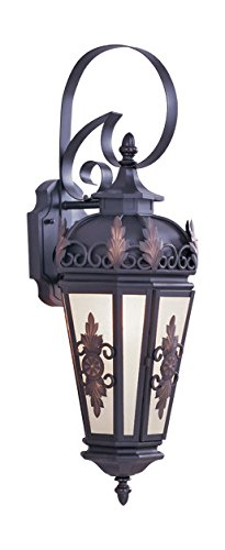 Bronze 1 Light 100W Outdoor Wall Sconce with Medium Bulb Base and Antique Honey Linen Glass from Berkshire Series