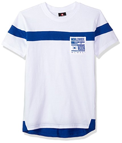 (Southpole Boys' Big Short Sleeve Tee with Colorblock and Nylon Patch (Age 8-20), White/Small, Large)
