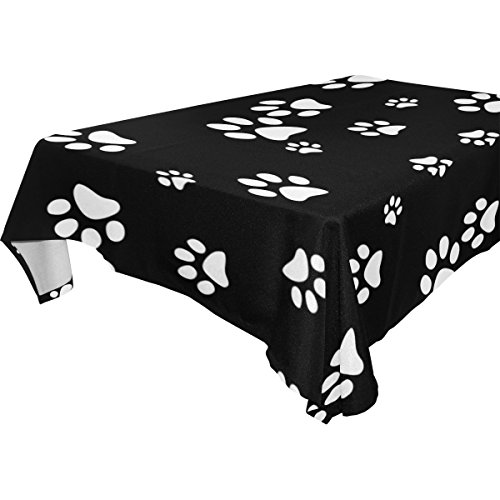 (WOZO Rectangular Cute Puppy Pug Dog Paw Print Tablecloth Table Cloth Cover for Home Decor Dinner Kitchen Party Picnic Wedding Halloween Christmas 54x54 inch)
