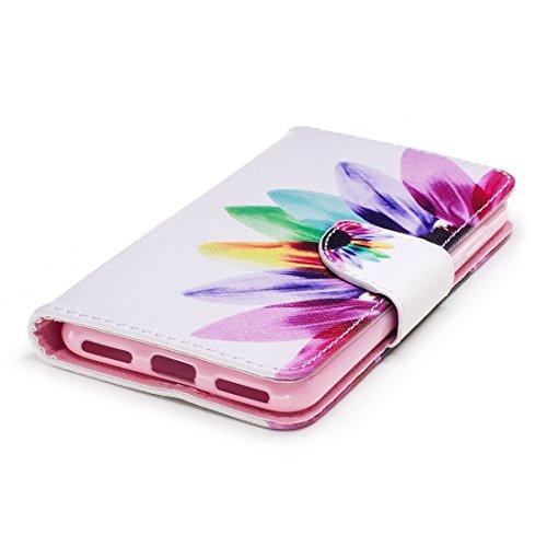 avec cuir P9 cas avec portefeuille carte pour Flip support fermeture d'impression Huawei Flowers en aérosol Lite étui en Hozor PU conception magnétique fente de protection Mini peint wC1q5xO