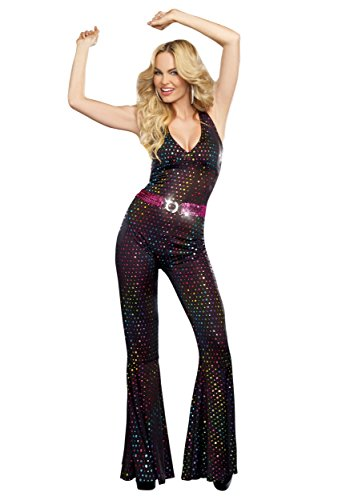 Dreamgirl Women's Disco Doll Costume, Black, Small (Womens Costumes)