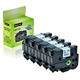 "GREENCYCLE 5-Pack Compatible 1"" 24mm Black on White Cassettes TZe251 TZe-251 TZ-251 TZ251 Standard Laminated Label Tape for Brother P Touch PTD600 PTP750W PTP710BT PTP700 PTE500 PTE550W Label Makers -  GREENCYCLE TECH INC"