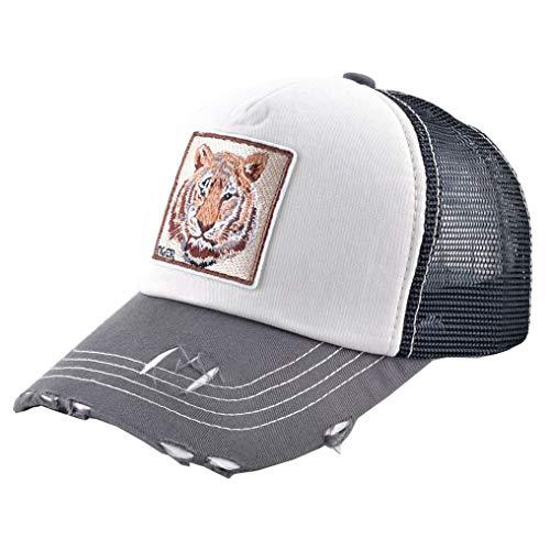 Animal Trucker Hat Baseball Distressed Cotton (Beige - Tiger)