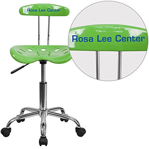 Flash Furniture LF-214-SPICYLIME-TXTEMB-VYL-GG Vibrant Spicy Lime and Chrome Task Chair with Tractor Seat