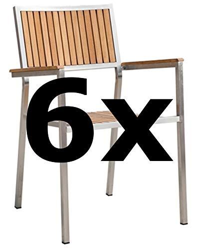 6Stk Designer Gartenstuhl mit Armlehne Gartensessel Stapelstuhl Stapelsessel Sessel Kuba-Teak Edelstahl Teak A-Grade stapelbar Sehr robust von AS-S