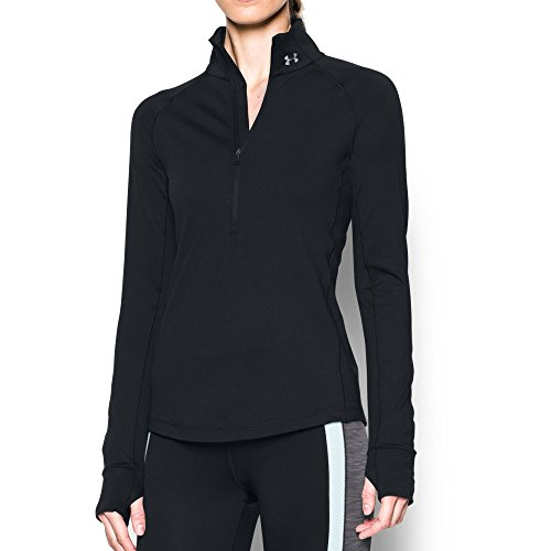 (Under Armour Women's ColdGear 1/2 Zip, Black/Black, Small)