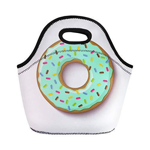 Semtomn Lunch Tote Bag Ring Shaped Donut Covered Mint Flavoured Green Icing Reusable Neoprene Insulated Thermal Outdoor Picnic Lunchbox for Men Women