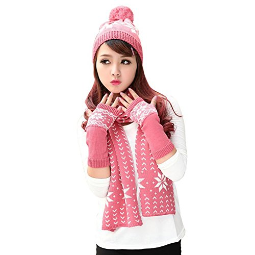 - Vinaka Womens Chenille Snowflake Print Knit Hat Gloves and Scarf Winter Set (pink)