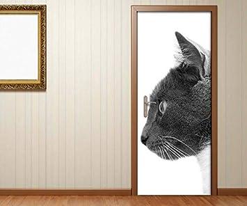 Pegatinas de Puertas Negro Blanco Gato Gatos Par Beso Amor Animales Dormitorio Puerta Cuadro Poster de Puerta Lámina Puerta Impresión Adhesivo Pegatina ...