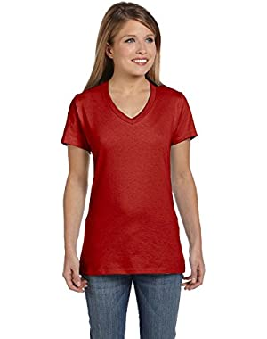 Hanes Womens 4.5 oz., 100% Ringspun Cotton nano-T V-Neck T-Shirt (S04V) DEEP RED