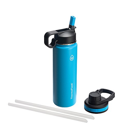 Thermoflask 50052 Bottle with Chug and Straw Lid, 24 oz, Capri by Thermoflask