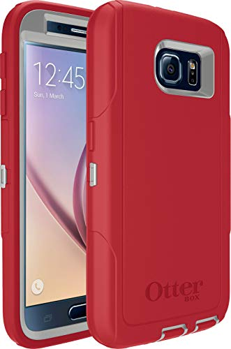 OtterBox Defender Series Case for Samsung Galaxy S6 - Case Only (No Holster) - Non-Retail Packaging - Scarlet RED/Sleet Gray