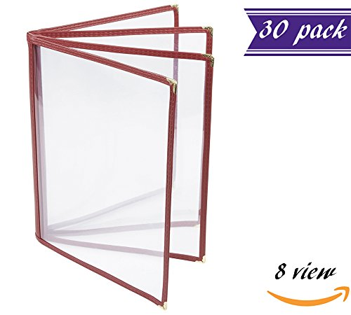 (30 Pack) 4 Page Book Fold Menu Cover, Dark Red / Maroon, 8 View, 8.5 x 11-inches Insert Menu Holder with Double Stitched Binding and Protective Corners