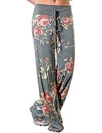 Women's High Waist Casual Floral Print Drawstring Wide...