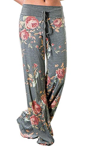 NEWCOSPLAY Women's Comfy Stretch Floral Print High Waist Drawstring Palazzo Wide Leg Pants
